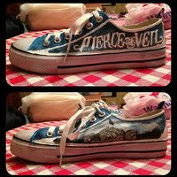 Pierce the Veil Shoes by RisingRedFox on Etsy Band Merch, Band Tees, Converse, Black Veil Brides, Bride Shoes, Pierce The Veil, Custom Shoes, Emo Fashion, Sock Shoes