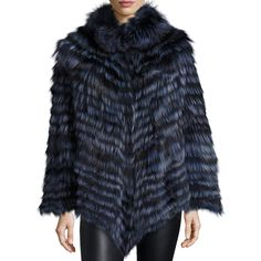 La Fiorentina Fox Fur Poncho ($1,800) ❤ liked on Polyvore featuring outerwear, blue, cape poncho, fox fur cape, poncho cape coat, blue cape coat and cape coat