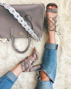 Gray sandals, prada bag, heart bag strap