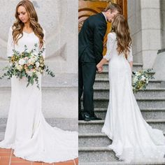 Discount Vintage Modest Wedding Dresses With Long Sleeves Bohemian . Discount Vintage Modest Wedding Dresses With Long Sleeves Bohemian modest wedding gowns - Wedding Gown Modest Wedding Dresses With Sleeves, Chiffon Wedding Gowns, How To Dress For A Wedding, Lace Wedding Dress With Sleeves, Country Wedding Dresses, Long Wedding Dresses, Cheap Wedding Dress, Lace Chiffon, Bridal Gowns