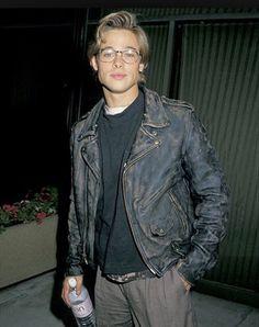Brad Pitt wearing eyeglasses