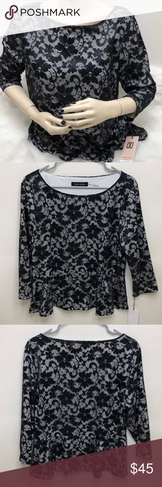 NWT Ivanka Trump Lace Blouse Description: Brand new... never worn. Flares out at the bottom. Black lace & white underneath.  ⚠️I always look through each item throughly once received and right before shipping, but things can be missed. Just let me know, so I can improve.⚠️  Measurement: Length from back of shirt top to bottom is 23in Arm pit to arm pit is 19in  ⚠️all measurements are an estimate⚠️  🚫NO TRADES/NO HOLDS🚫  Please ask questions❓  💜Thank you for checking out my closet and…