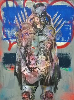 Stikki Peaches Rocky Batboa -  2015 Mixed media on canvas 76.2 x 101.6 cm 'RED' - Expressionism Group Exhibition at SOFITEL Gold Coast