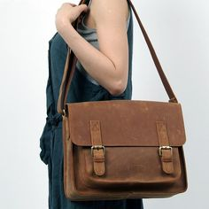 "Vintage Leather Messenger Bag / 11"" MacBook Air Satchel / iPad Bag"