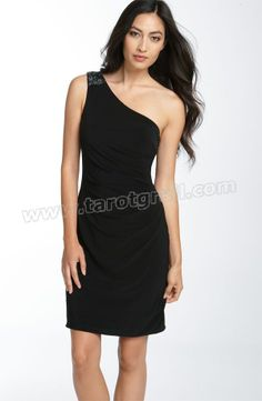 One Shoulder Black Short Sheath Dress