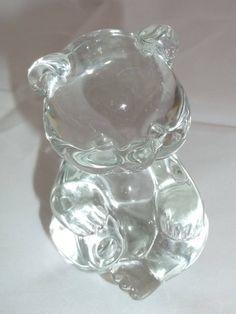 Teddy Bear Clear Glass Paperweight Vintage Art Glass Teddybear Bear Paper Weight Retro Mid-Century Fenton Paperweight Desk Supplies Teddies
