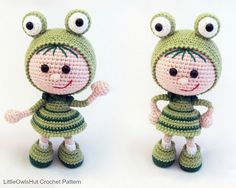 118 Crochet Pattern Girl doll in a frog outfit von LittleOwlsHut