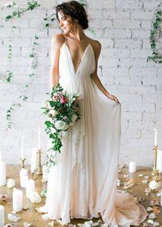 Whte v neck chiffon long prom dress, white evening dress