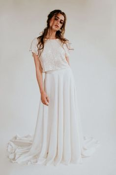 Sparkly cropped T style wedding top and long skirt by Rolling in Roses - Sustainable + Ethical Wedding Dresses Using Eco-Friendly Fabric + Peace Silk Bridal Tops, Bridal Skirts, Sustainable Wedding, Bridal Separates, Dream Wedding Dresses, Wedding Outfits, Wedding Gowns, Bridal Boutique, Bridal Style