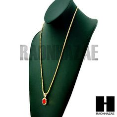 "Hip Hop ICED OUT MINI RICH GANG RED RUBY PENDANT 24"" ROPE CHAIN NECKLACE GN165"