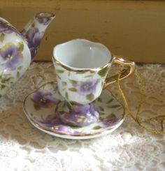 Tea Cup Ornament--Pansies