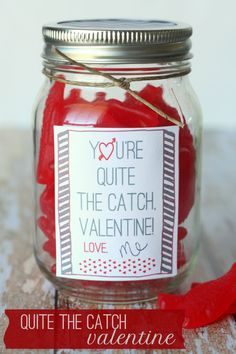 You're Quite the Catch Valentine Gift Idea with Free Print (also could say: Out of all the fish in the sea, I'm so glad that you chose me! Valentines Day Gifts For Him, Valentine Day Love, Valentine Day Crafts, Valentine Ideas, Valentine Stuff, Printable Valentine, Valentine Wreath, Valentine Decorations, Funny Valentine