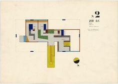 Le Corbusier, Exhibition Pavilion, Z.H.L.C., Zurich, Switzerland, Second-floor plan, 1961