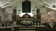 Christ the King Catholic Church altar during Christmas in Brownsville, TX