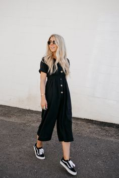 Lisa Allen of Salty lashes wearing a Black free people jumpsuit with lespec glasses and vans classics Simple Outfits, Classy Outfits, New Outfits, Spring Outfits, Trendy Outfits, Cute Outfits, Fashion Outfits, Outfits With Black Vans, Black Vans Outfit