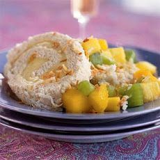 barbara mandrell layer cake dessert recipe   Five-Spice Toasted-Coconut Cake Roll with Tropical Fruit Compote