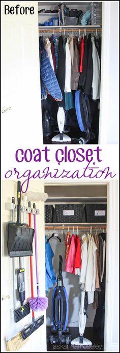 New Small Coat Closet Organization Entryway Front Doors 43 Ideas Small Coat Closet, Small Closet Space, Front Closet, Entryway Closet, Small Spaces, Entryway Stairs, Entryway Storage, Organize Coat Closet, Mudroom