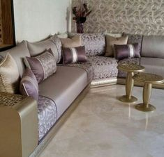 beautiful modern moroccan salon you can inspire more ideas Corner Sofa Design, Living Room Sofa Design, Living Room Designs, Living Room Decor, Moroccan Room, Moroccan Decor, Modern Moroccan, Living Furniture, Sofa Furniture