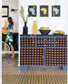 "Cultured Home --- Marie Claire ""L'Afrique C'est Chic"" editorial, african wax dresser"