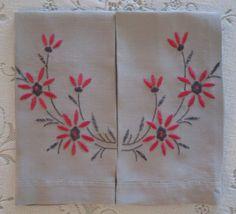 Two Finger Tip Towels Vintage Grey Linen by VintageLinenGallery