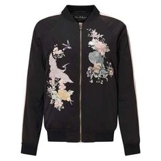 Satin Embroidered Bomber Jacket (5.150 RUB) ❤ liked on Polyvore featuring outerwear, jackets, coats, tops, bomber style jacket, blouson jacket, flight jackets, satin jackets and miss selfridge