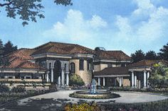 Mediterranean Style House Plan - 4 Beds 4.5 Baths 5603 Sq/Ft Plan #417-442 Exterior - Front Elevation - Houseplans.com