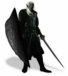 m Drow Elf Fighter Plate Tower Shield Sword underdark undercity Bela Iluntasuna