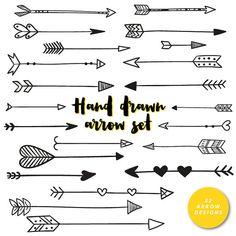 Hand Drawn Arrows Clip Art Tribal Handdrawn Arrow by inkanddot More