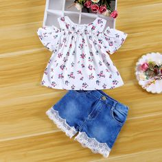 b420c3e73106aa Girls off shoulder floral tank top with lace denim shorts