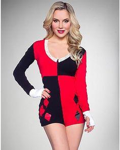 Harley Quinn Long Sleeve Romper - Spencer's