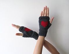 Knit Fingerless Gloves in Dark Grey, Dark Red Embroidered Heart, Heart Gloves, Fingerless Mittens, Arm Warmers, Wool Blend, Made to Order -- Awesome products selected by Anna Churchill