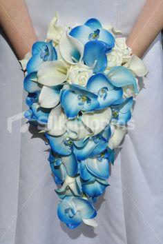 Blue Orchid Wedding Bridal Bouquet   Ivory & Blue Orchid & Calla Lily Wedding Bridal Bouquet