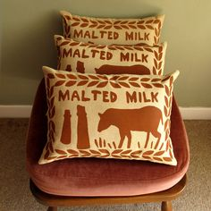 Malted Milk Screen Printed Cushion by Nikki McWilliams