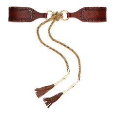 Class By Cavalli Leather Belt in Brown & Gold-tone.