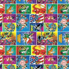DC-Comics-Original-Heros-Camelot-Quilt-Fabric-by-the-1-2-yd-Heroes-In-Action