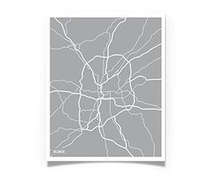 Atlanta Georgia Aerial Art Map Print Wall Decor - fun unique custom gift for him or her husband boyfriend girlfriend wife. This Atlanta, Georgia aerial map art would like great in anyone's home! Show your love for ATL! Choose either a white background with colored streets/words or color background with white streets/words. THIS LISTING IS FOR AN ART PRINT ONLY - items shown in pictures are for staging inspiration only - they will be mailed UNFRAMED. All EmbieDesign prints are created by…