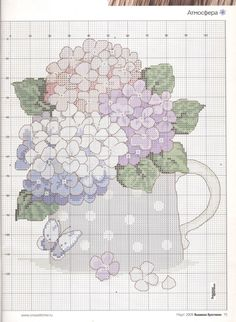 Cross stitch - flowers: Hortensia (chart)