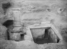 Pit tomb of Queen Hetepheres I wife of Pharaoh Sneferu and the mother of Khufu, 4th dynasty, discovered near the satellite pyramids of the Great Pyramid of Giza in shaft G7000X.  Although the sarcophagus was sealed and the canopic box were intact, Hetepheres' mummy was missing. The contents of the tomb provide us with many details of the luxury and ways of life of the Fourth dynasty of Egypt.