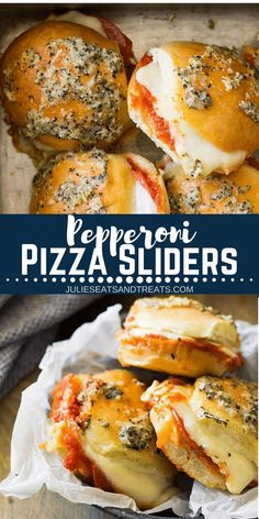 These Pepperoni Pizza Sliders are Quick, Easy and Perfect for any night of the week! Whether It Be a Game Day Appetizer, Lunch or Dinner! Your family will love this sliders recipe! #slider #sliders #appetizer #tailgating #appetizers #gameday #recipe #easy #easyrecipe #pepperoni #cheese #julieseatsandtreats via @julieseats