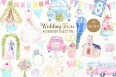 Watercolor Collection Wedding Fever by Corner Croft on @creativemarket