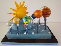 The planets of the solar system. Solar System Projects For Kids, Solar System Crafts, Solar Projects, Fair Projects, Science For Kids, Science Activities, Science Projects, Activities For Kids, Solar System Cake
