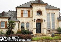 Dramatic Manor Home Plan - 36157TX | 1st Floor Master Suite, Bonus Room, Butler Walk-in Pantry, CAD Available, Corner Lot, Den-Office-Library-Study, European, French Country, Luxury, MBR Sitting Area, Media-Game-Home Theater, Multi Stairs to 2nd Floor, PDF, Photo Gallery, Premium Collection, Split Bedrooms | Architectural Designs