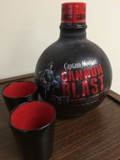 The Captain Morgan Cannon Blast rum comes in a cannon ball bottle. It pours a smooth, citrusy rum shot with a spicy finish. Deco Pirate, Pirate Decor, Alcohol Bottles, Liquor Bottles, Fun Drinks, Alcoholic Drinks, Beverages, Whisky, Tequila