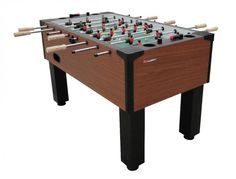 "Atomic Gladiator Foosball Table    PRODUCT FEATURES    15"" x 2"" MDF aprons 5/8 Solid chrome steel rods Nylon rod bushings Solid wood octagonal handles 3/4"" MDF playfield with 1 1/8"" solid MDF support braces Traditional style men4 3/4"" x 4 3/4"" Post style leg laminated MDF 3 1/2 Leg levelers Integrated cup holdersInternal ball return and ball entry Solid wood slide scoring Includes (4) balls"