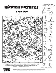 Hidden Pictures Printables, Highlights Hidden Pictures, Hidden Picture Puzzles, Holiday Games, Paper Games, Puzzle Books, Hidden Objects, Artist Brush, Winter Pictures