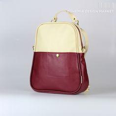 Backpack Red ruby and Creamy beige - Egg shape Rucksack Backpack, Backpack Handbags, Bohemia Design, Fashion Backpack, Red And White, Backpacks, Beige, Egg Shape, Stuff To Buy
