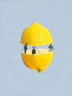 A series of collages with objects cut with people incorporated, is appealing to the eye.
