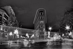 Flatiron in black and white by Eyesplash - Winter is coming along with Santa, via Flickr