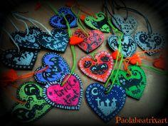Set of 3 Halloween Ornaments~wooden hearts~wood~heart~heartshaped~home decor~decorative art~doodle~drawing~halloween decoe~gift idea~tag