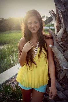 Discover this look wearing Yellow Candies Blouses, Mint Shorts - Senior Year! Trendy Outfits, Cool Outfits, Summer Outfits, Fashion Outfits, Trendy Fashion, Mint Shorts, World Of Fashion, Everyday Fashion, Spring Summer Fashion